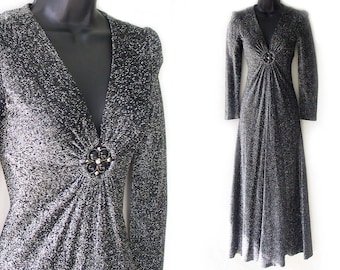 Vintage 70s Black and Metallic Silver V-Neckline Maxi Dress XXS XS