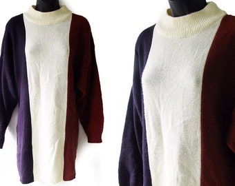 Vintage 90s Brown Black and Ivory Color Block Stripes Oversized Tunic Sweater M L