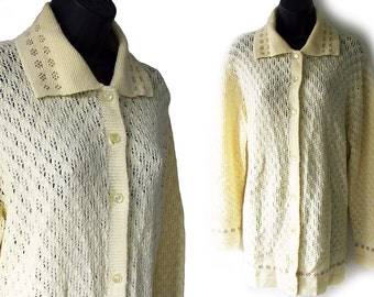 Vintage 70s Ivory with Brown Abstract Floral Design Acrylic Cardigan Sweater XL