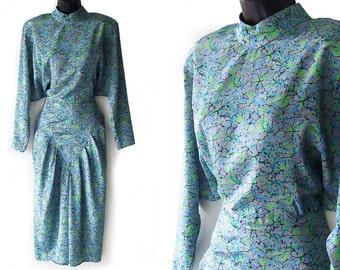 SALE! 80s Aqua Green Black and Gray Abstract Marble Print Dress M
