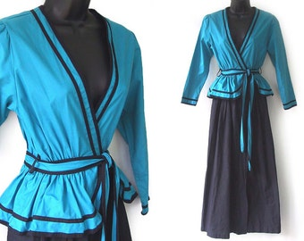 SALE! 70s 80s Teal and Black Deep V-Neckline Wrap Maxi Dress with Belt S