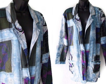 80s 90s Blue with Matisse Inspired Graphic Art Print Oversized Cotton Jacket M