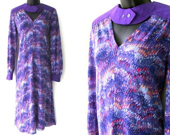 70s Purple Abstract Optical Print Dress M