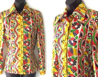 SALE! 70s Yellow Green Red Geometric Floral Print BLOUSE XS S