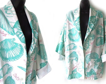 80s 90s White with Novelty Seashell Print Oversized Jacket L XL
