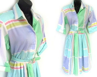 80s Pastel Geometric Print Shirtwaist Dress with Belt M L
