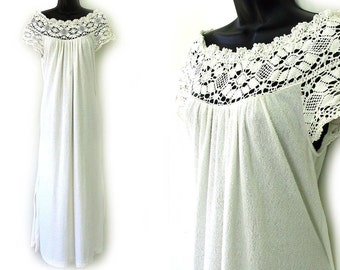 70s Cream with Floral Lace Terry Cloth Maxi Dress S
