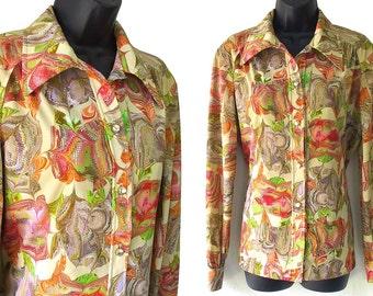 SALE! 70s Khaki and Orange Optical Swirl Print Blouse L