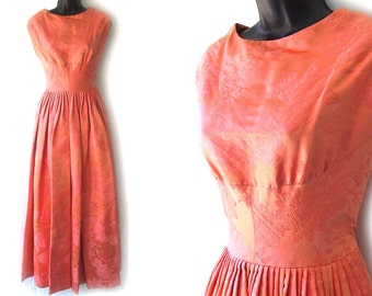 60s Coral Floral Silk Brocade Sleeveless Formal Dress XS S