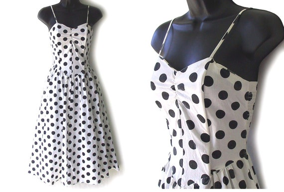 80s Polka Dot White and Black Sundress M