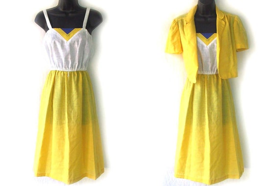 70s Yellow White and Blue Sundress and Jacket S