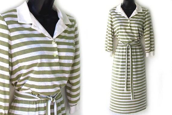70s 80s White Green and Metallic Gold Stripes Dress S M