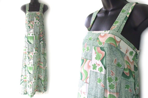 70s Green and Tan Abstract Floral Print Maxi Sundress S M