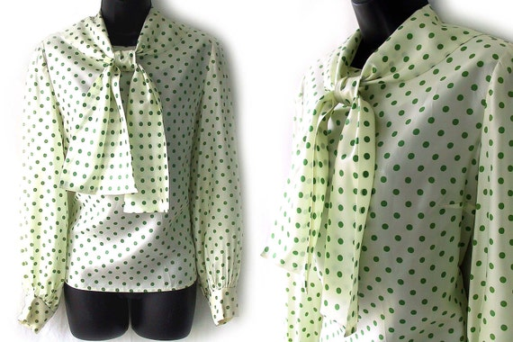 70s Ivory with Green Dots Ascot Tie Blouse M L