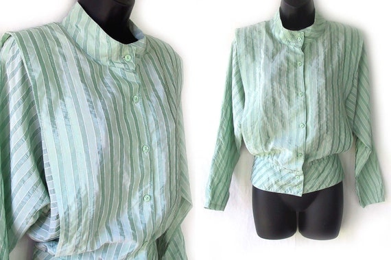 80s Green Striped Blouse M