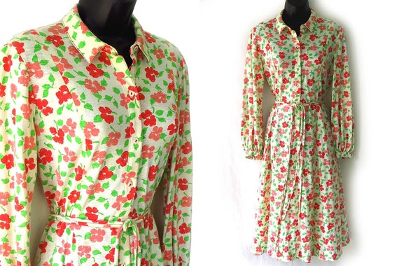 70s Ivory with Orange and Green Floral Print Shirtdress M