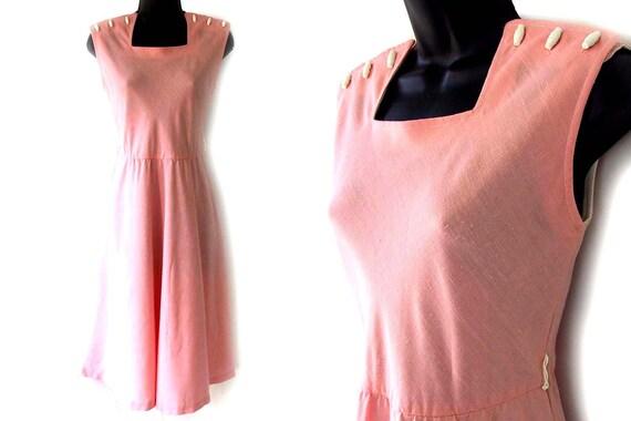 70s Coral Square Neckline Sleeveless Dress M L