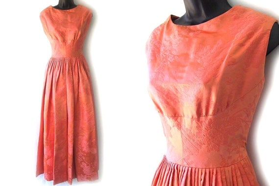 SALE! 60s Coral Floral Silk Brocade Sleeveless Formal Dress XS S