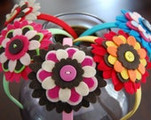 HAPPY FLOWER HEADBANDS FALL COLORS (color combo 2) - pick your color