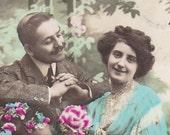 Parfum de Fleur, Antique French postcard-Edwardian couple with flowers, real photo postcard (RPPC), paper ephemera.
