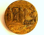 French Castle, Victorian button-Antique brass button with villa and trees.