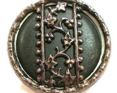 1800s Antique BUTTON, Victorian ribbon design with flowers, silver & green.