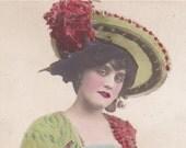 Antique British postcard-Actress in a large hat, paper ephemera.