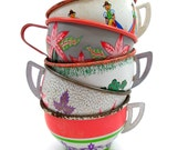 Tin Toy cups, Set of 5 vintage metal with litho, 1950s 1960s.