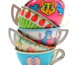 Toy Tea Cups, Set of 5 vintage tin in pink & blue, Instant Collection.