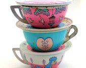 Toy Tea Cups & Saucers, Litho on 6 pink N blue vintage tin, Instant Collection.