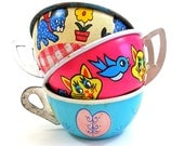 40s Toy Tea Cups & Saucers, Litho on 6 pink, blue, yellow vintage tin, Instant Collection.