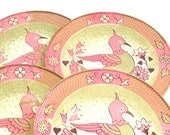 1960s tin Tea plates in pink with bird & flowers, lithograph. Set of 4 by J Chein.
