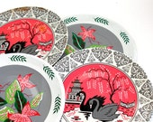 60s tin Tea plates,  bird & flowers in pink, gray, white. Set of 4 with lithograph by J Chein.