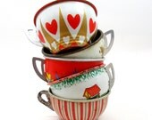 1950s Tin Toy cups, Set of 5 vintage metal with litho, hearts & flowers.