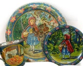 1930s Antique tin toy tea set, Red Riding Hood setting of 3 with litho by Ohio Art.