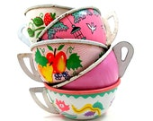 Toy Tea cups, 5 vintage tin with fruit & flowers, Instant Collection.