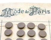 24 Antique buttons, French silk stripe in silver gray on original card, perfect for costumes & reinactment.