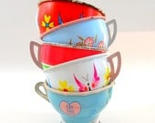 50s Tin Toy cups, 5 vintage metal with BUTTERFLIES litho, Spring set.