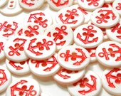 "12 Red Anchor buttons, A dozen white plastic with Nautical design, 3/4""."
