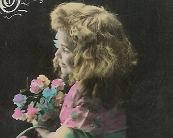 1900s French postcard, Edwardian girl with flowers, real photo postcard (RPPC), paper ephemera.