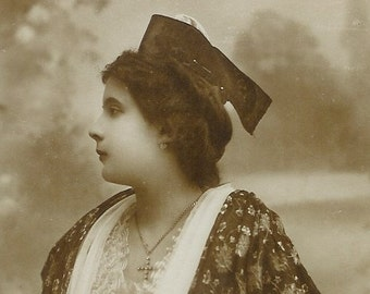 Antique French real photo postcard (RPPC), lady in a flowered frock, paper ephemera. SALE