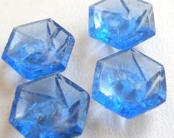 1920s glass Czech buttons, 4 Art Deco blue glass buttons, 12mm.