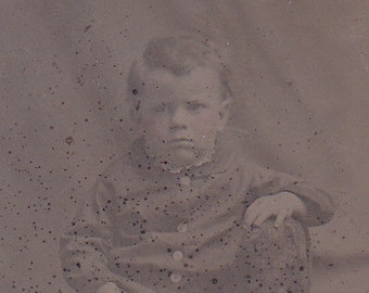 SALE Striped Socks, Victorian tintype portrait of a young boy, ferrotype photograph.