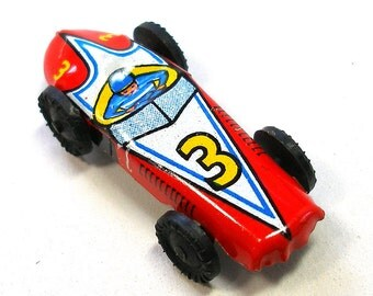 60s Mini tin toy race car in red, from Japan.