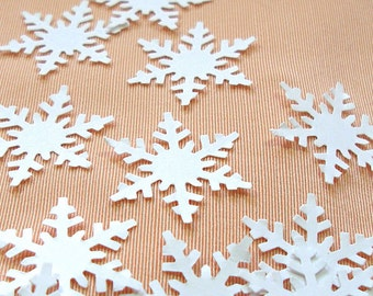 50 Snowflakes, White confetti embellishments for scrapbooking, decor, style A.