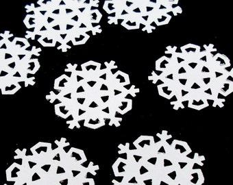 50 Snowflakes, White confetti embellishments for scrapbooking, decor, style C.