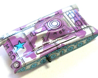 Tin Toy tank, 1960s Japanese car with purple & silver camo, M60.