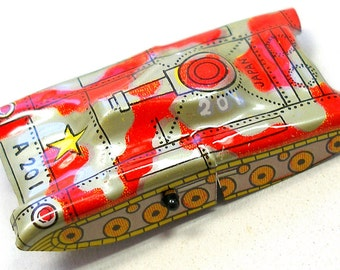 60s Tin Toy tank,  Japanese car with red & silver camo, A201.