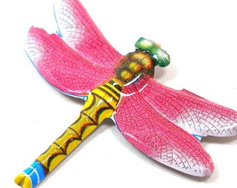 60s Tin Toy DRAGONFLY brooch, Pink metal insect jewelry made in Japan.