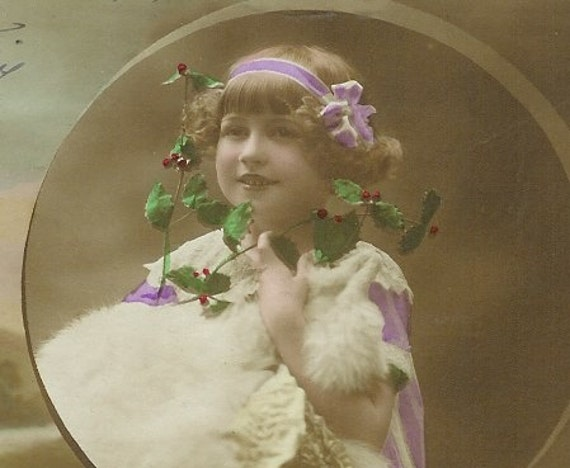 RESERVED 1900s French postcard, girl with fur, RPPC, real photo postcard, paper ephemera. Price reduced. Reserved for Angela